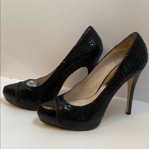 Michael Kors Black Snake & Patent Leather Stiletto